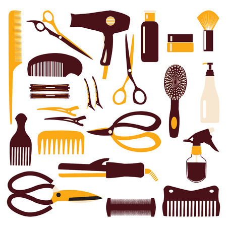haircutting: haircutting tool icons set of silhouette on white background Illustration