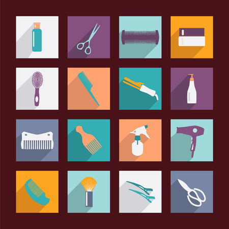 salon: haircutting tool Flat icons  of silhouette on white background