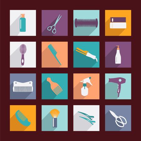 salon de belleza: herramienta peluquería iconos planos de la silueta en el fondo blanco Vectores