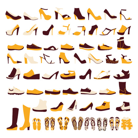Silhouette vector icon set of mens  and of womens shoes fashion  Footwear Illusztráció