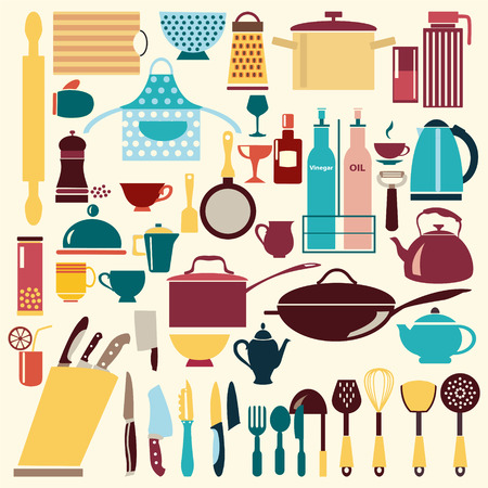 commercial painting: vector kitchen and restaurant icon kitchenware set