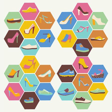 tienda de zapatos: Iconos planos conjunto de zapatos de los hombres y mujeres de calzado de moda hacen en forma hexagonal