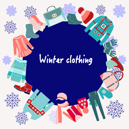 clothes: Vector  Winter Clothing collection Background with copy space- illustration