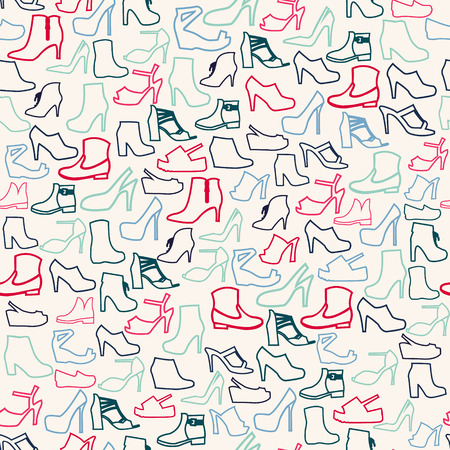 Vector Pattern of Fashion shoes outline. Background of fashion womens shoes Illustration