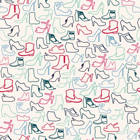 zapato: Vector el modelo de zapatos de moda contorno. Antecedentes de los zapatos de las mujeres de la moda