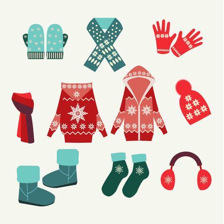 Flat collection of winter clothes and accessories - Illustration