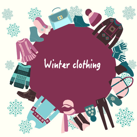 winter clothing: vector  Winter Clothing collection Background  illustration Illustration