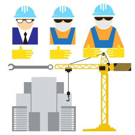 desing: Engineer and workers building scene flat desing Illustration