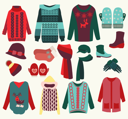 vector woman winter clothes set, cozy collection illustration Illustration