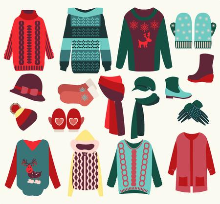 ropa de invierno: vector de la mujer ropa de invierno conjunto, ilustración acogedora colección