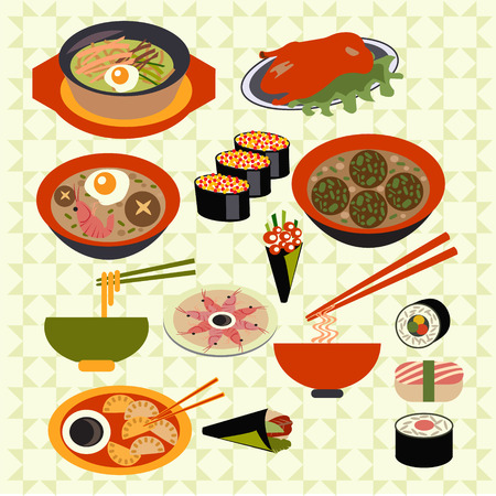 egg roll: Set icons of asian food Japanese dishes vector