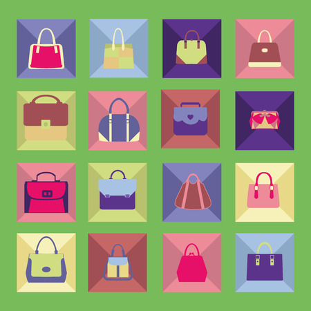 packing suitcase: Vector Set icons of collection with Women handbags in Flat design