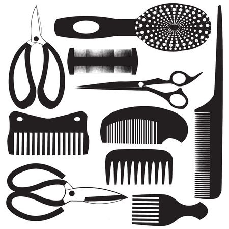 haircutting: haircutting tool flat design icons black silhouette set