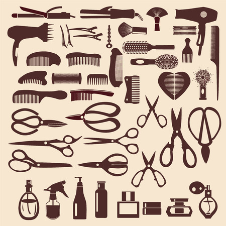 haircutting: haircutting tool icons set of silhouette Barbershop objects Illustration
