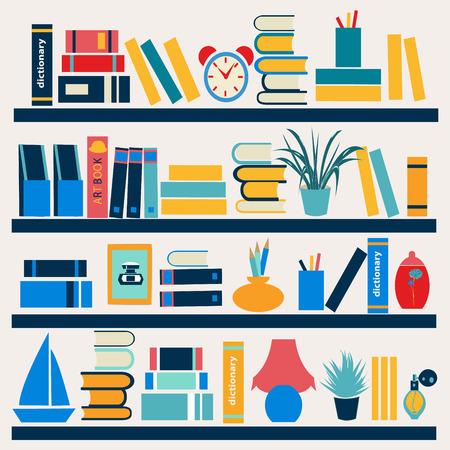 portadas de libros: Antecedentes de libros en los estantes - Ilustración de estilo plana