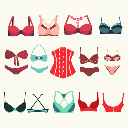 bra: Set of womens  bra and bustier icons Different types of bras - Illustration