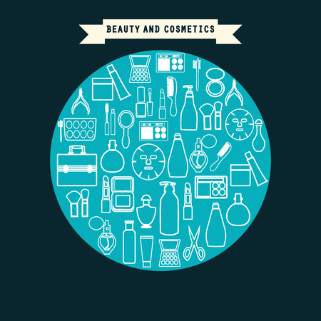 beauty product: beauty and cosmetics product  set icons outline style -illustration. White line icons different types of beauty product.