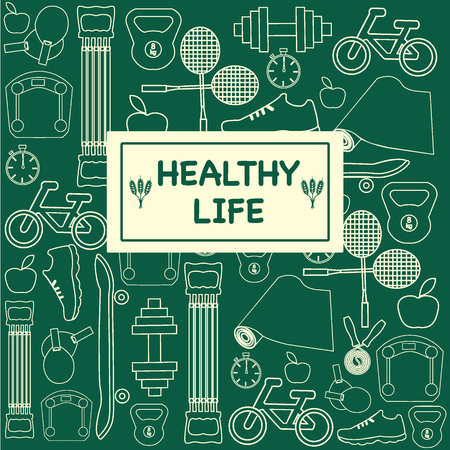 set of Healthy Life icons in trendy linear style mono line icons about fitness sport and Healthy Lifestyle - Illustration