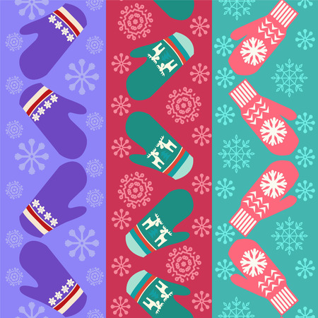 mittens: Christmas pattern with mittens - Illustration. Holiday background design with knitted mittens
