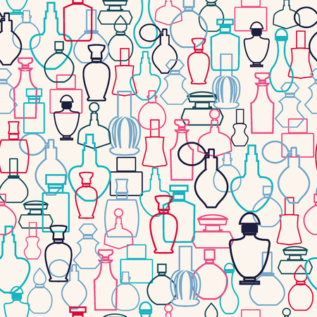 perfume spray: set of outlined pattern of bottle collection Illustration