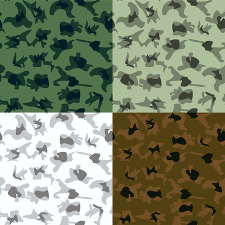 set of camouflage pattern in 4 Colors