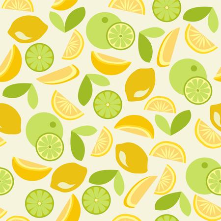 tropical climate: Seamless pattern with citrus design orange, lemon, lime - Illustration Illustration