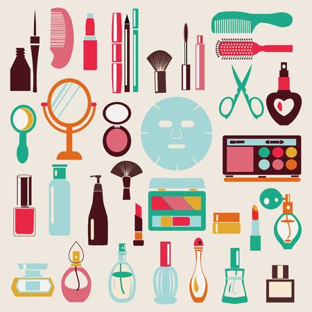 beauty make up: Make Up and Beauty Symbols Icon Set - Illustration Illustration