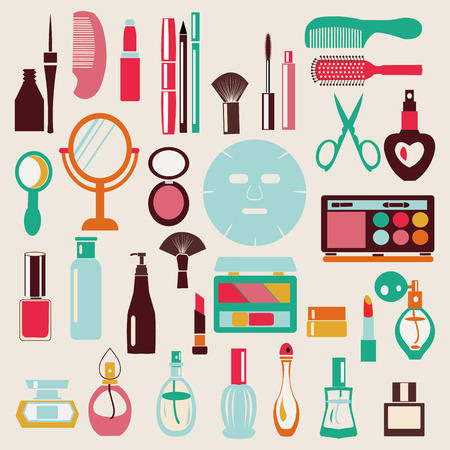 Make Up and Beauty Symbols Icon Set - Illustration