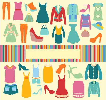 Fashion background vector clothing and shoes icons