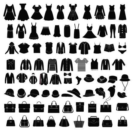 woman clothing: Collection of fashion Mens and Women Clothes and bags set of of Fashion elements