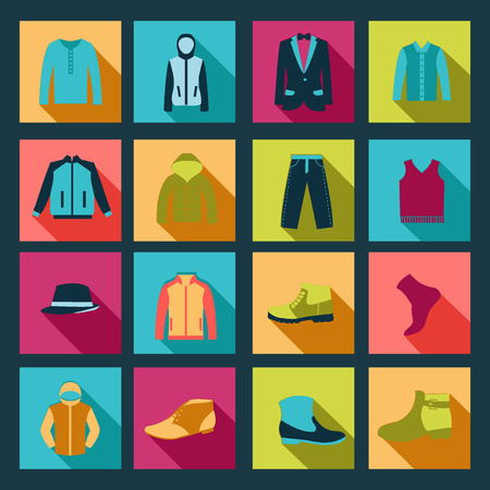 group of objects: Group of Objects icons set of Fashion elements man clothing Illustration