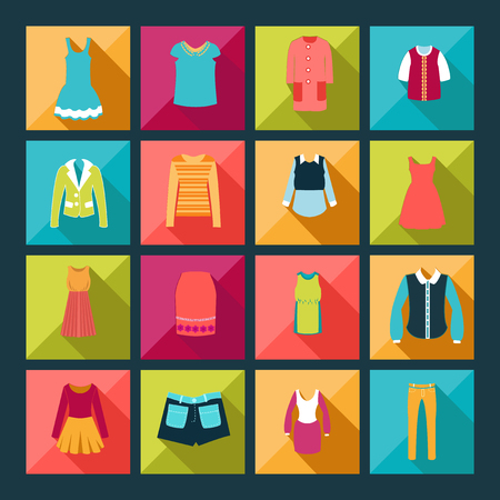 Store Clothing Icons - Illustration Department store clothing Fashion flat. Illusztráció
