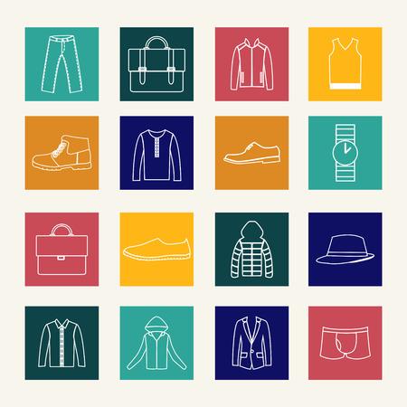 ふだん着: Set of flat Icons Mens Casual Wear  - Illustration