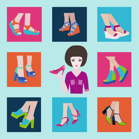 high heels: Flat icons set of fashion High Heels womens shoes made in flat style Illustration