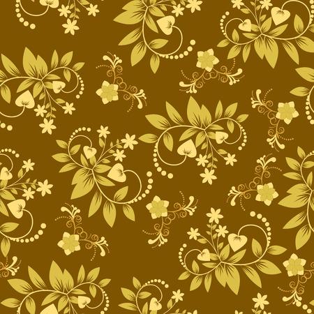 flower decoration: Vintage vector background with golden flowers