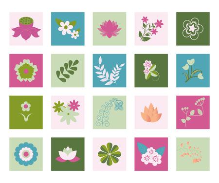 flowerbed: Floral Symbols  icon set Vector Flower Set - Illustration