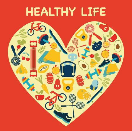 vida sana: conjunto de iconos vectoriales planos sobre el deporte de fitness y estilo de vida saludable - Ilustración Vectores