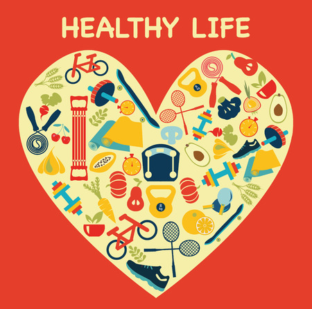healthy life: set of flat vector icons about fitness sport and Healthy Lifestyle - Illustration Illustration