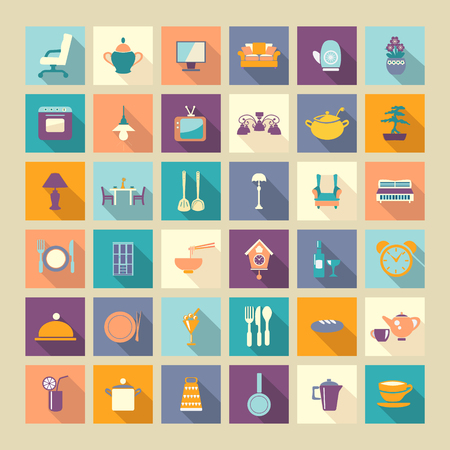 home related: A set of home related and dining  Icons Set Flat design style elements