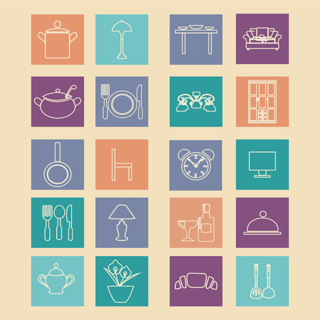 home related: set Icons of home related and dining elements on Flat design style Illustration
