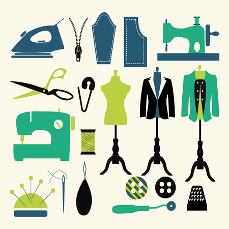 fashion industry: Tailor and sewing icon set Fashion Industry items - Illustration Illustration