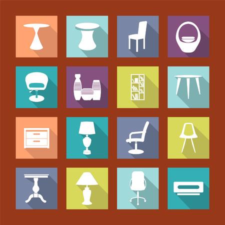 lighting column: Interior Icons Set of design elements - Modern Furniture Silhouettes.