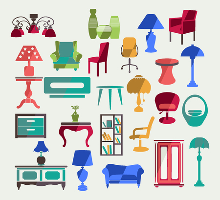 collection of  of Interior  elements  Furniture in flat style