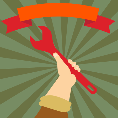 boycott: Wrench in worker hand in the sunburst and ribbon Illustration