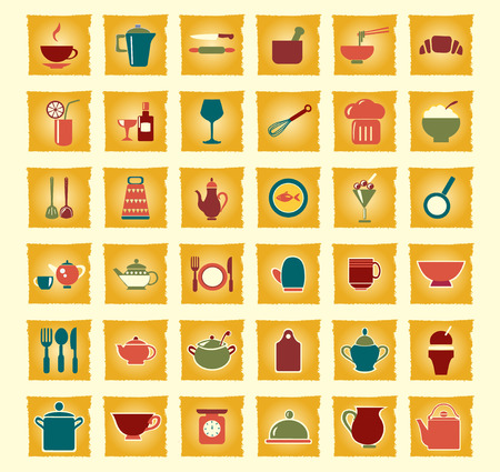 kitchen ware: vintage  icons set kitchen ware - Illustration