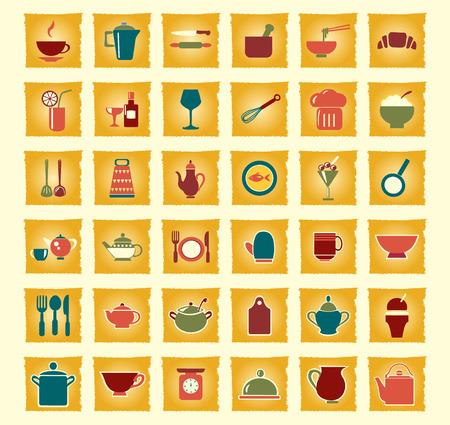 ware: vintage  icons set kitchen ware - Illustration
