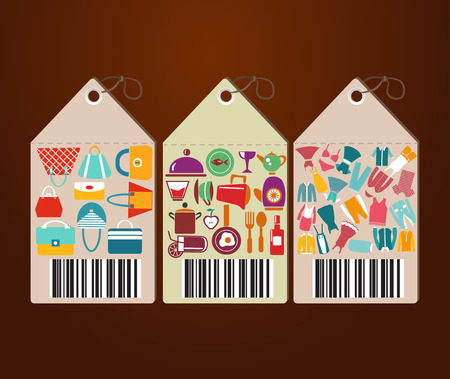 kitchen ware: Department store clothing Fashion Icon with kitchen ware and Universal tags -illustration