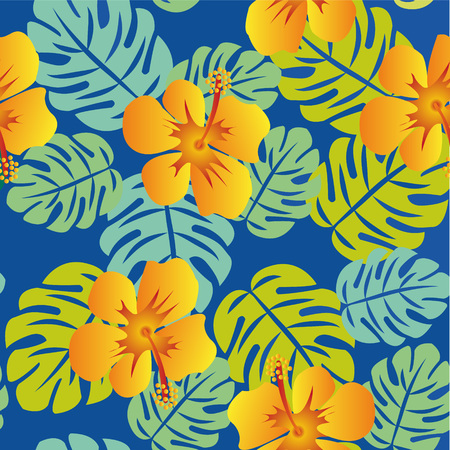 Tropical Pattern with Monstera leaves colorful vector background Stock fotó - 48648823