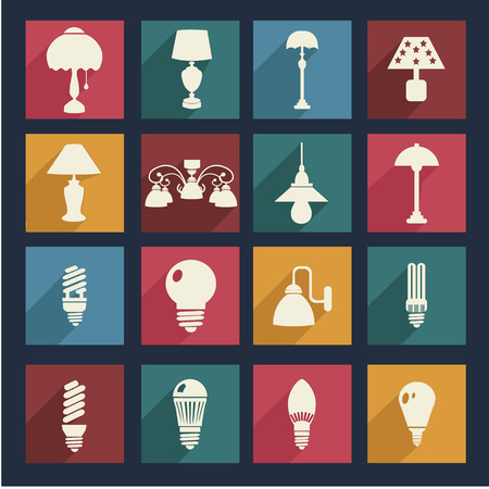 small group of objects: lamps and light bulb set icons  - Illustration  Home interior electricity equipment flat