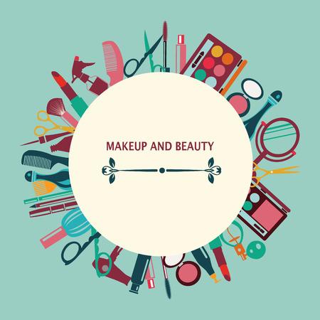 아름다움: 녹색 배경에 패턴 메이크업과 아름다움 화장품 기호 패턴 - 그림